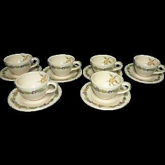 6 - Pfaltzgraff Jamberry Cups & Saucers , USA, Discontinue, Pat Farrell