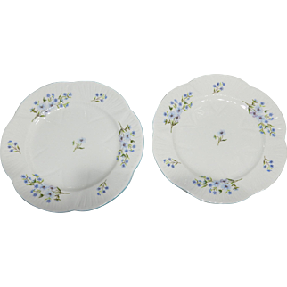 """Lot of Two (2) Shelley """"BLUE ROCK"""" 8 inch luncheon plates;  Unused"""