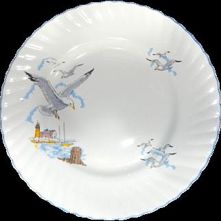 "Queen's Fine Bone China ""SEAGULL"" pattern  8"" Luncheon plate, Unused Condition"