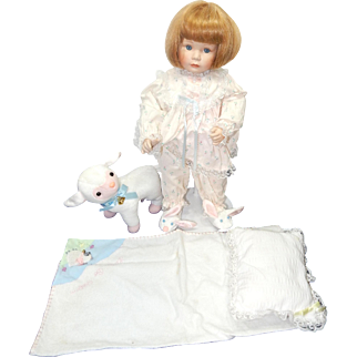 """1995 Susan Wakeen 17"""" Bisque Artist Doll, Mary Had A Little Lamb; has her lamb and bedding!"""