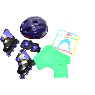 """1997 tagged 18"""" American Girl Roller Blade Outfit, Skates, Knee Pads, Helmet, Green shorts, White shirt with AG logo"""