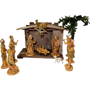"Early Fontanini Spider Mark Depose Italy 5"" Holy Family Nativity Set consisting of 10 figures ; Nativity creche; palm tree"