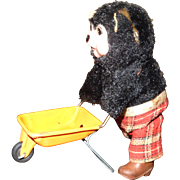 Wind Up Construction Bear; Bear Pushing Wheel Barrel; Made in Japan