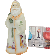 MIB Fenton Hand Painted  Santa Claus  Figurine -Green Santa Back pack with Stars ; has original paper sticker