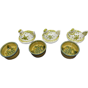 John B. Taylor Louisville Pottery; Three covered individual Casseroles with Rooster lids, Harvest Pattern