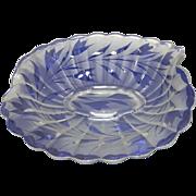 c.1940 Fenton Art Glass Console center Piece Bowl with acid etched design