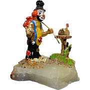 Clown at Mailbox; JuDi Original of California; 24K Gold Plated approximately 5 inches tall