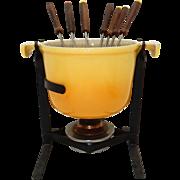 Vintage 70s Le Creuset Cast Iron With Yellow Enamel Fondue Pot,  Stand & Original Fondue Forks