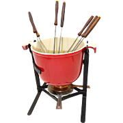 Vintage 70s Le Creuset Cast Iron With Red Enamel Fondue Pot,  Stand & Original Fondue Forks