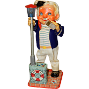 Vintage S & E Amico The Drinking Captain Tin Toy 4101 Battery Operated In ORIGINAL Box