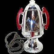 Vintage Art Deco Rocket United Coffee Pot Perculator with Cherry Bakelite Handles RETRO