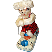 1950's Battery Operated Fishing Polar Bear Tin Litho Toy Alps Japan ; Original Box