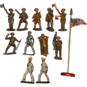 Lot of 12 Manoil Hollow Cast WWI Soldiers with flag on pole