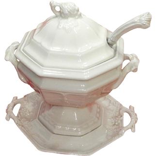 Red Cliff Ironstone Soup Tureen with Underplate Grape Heirloom Pattern Vintage, discontinued!