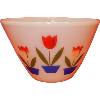 "Fire King Tulip Design Mixing Bowl ; measures approximately  5.5"" tall: 8"" wide, Fine Condition, No chips, cracks, hairlines, or other damage."
