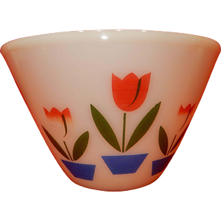 "Fire King Tulip Design Mixing Bowl ; measures approximately 6.5"" tall: 8.5"" wide; No chips, cracks, hairlines, or other damage."