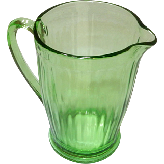 Depression Glass Green Pitcher, simple pattern; not sure official name