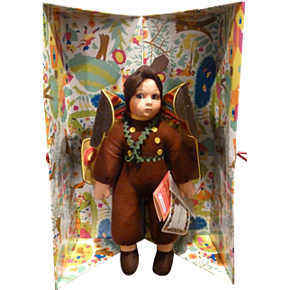 LENCI ITALY Contemporary Limited Edition Cloth Felt FARFALLA  (BUTTERFLY ) Character Doll 13""