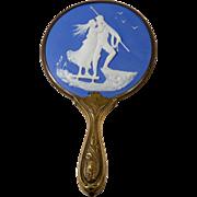 Antique Art Nouveau Jasperware Hand Mirror Depicting Sailor and Woman