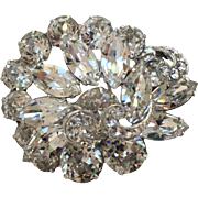 1950's Eisenberg Clear Rhinestone Showstopping Brooch Pin