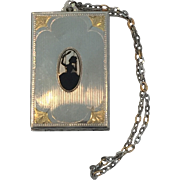 Fabulous Art Deco Era Silhouette Compact with Carrying Chain