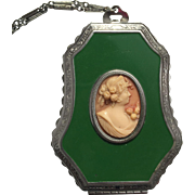 Art Deco E.A.M. Cameo Compact with Carrying Chain