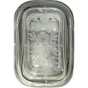 Heavy Victorian Etched Glass and Brass Casket Trinket Box