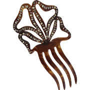 Vintage Celluloid and Rhinestone Hair Comb