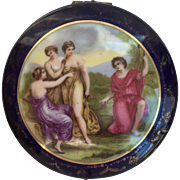 Victorian German Porcelain Ormolu Blue Dresser Box