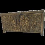Vintage Belgium Heavy Bronze or Brass Lined Casket Box Gorgeous