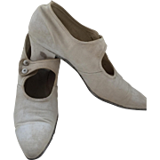 Cream Silk Edwardian Ladies Shoes