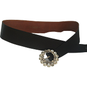 1950's Black Silk and Leather Belt by Annette with Original Large Rhinestone Buckle