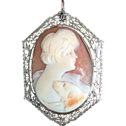 1920's 14K White Gold Filigree Shell Cameo of Lady with Dog