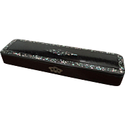 English Victorian Black Lacquer Mother-of-Pearl Pencil Case Box