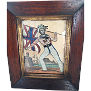 c.1850 Antique Tinsel and Silk Print of British Actor Cook Portraying Union Jack in Original Walnut Frame