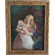 Signed Victorian Painting of Two Girls Holding a Baby...Beautiful Christening Gown
