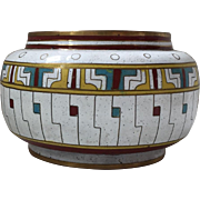 c.1900's Chinese White Cloisonne Bowl Interesting Geometric Design