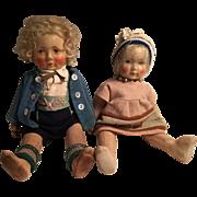 1920's All Original German Bing Cloth Doll Couple Pair