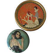 Collection of Two Vintage Deco Vanity Powder Tins Harrison Fisher and Richard Hudnut