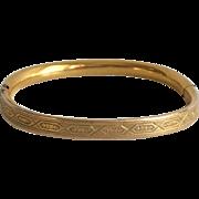 Ornate Victorian 12Karat Gold Filled baby Bangle Bracelet