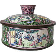 Early Scenic Canton Enamel Decorative Box Pink and Greens