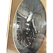 Art Deco Brass Frame with Autographed Photograph of British Film and Stage Star Phyllis Monkman