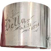 "Victorian Sterling Silver Napkin Ring Engraved for ""Bella"" with Halloween Date of Oct. 31 1891!"
