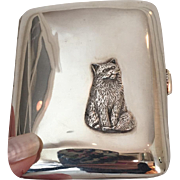 1920's Antique Sterling Silver Cigarette Case with Cat and English Hallmarks