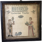 Exceptional Antique Early 19th C. Sampler by Catherine Taylor Unusual Smaller Square Size w/Turkey