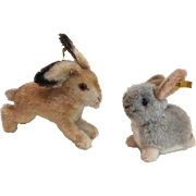 Two Vintage Steiff Bunny Rabbits with Buttons