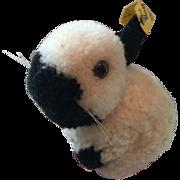 Vintage Steiff Pom-Pom Wool Black and White Bunny Rabbit w/Button!