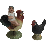 19th C. German Bisque Baby Riding on a Rooster with Spring Legs and Hen