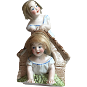 Antique Victorian German Bisque Wigged Babies in and on a Dog House... Bank!