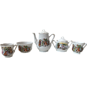 19th C. Victorian Santa Clause and Snowman with Children Christmas Themes Child's China Tea Set Pieces